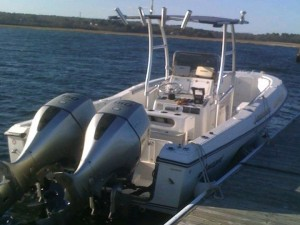 Wells Maine Striper Fishing Charters, Breton's Fly Shop, Wells Maine Fishing, Aquasport Center Console